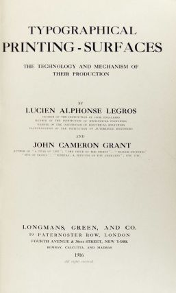 Typographical Printing-Surfaces: The Technology and Mechanism of Their Production