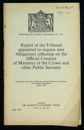 Tribunals of Inquiry (Evidence) Act 1921. Report of the Tribunal appointed to inquire into...