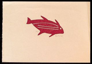 Linocut of Fish. Unknown