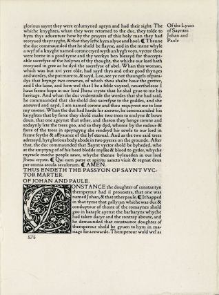 Six leaves from The Golden Legend. Kelmscott Press, Jacobus de Voragine, William Caxton, and printer
