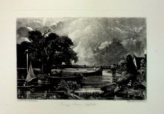 "Plate - ""River Stour, Suffolk"" from English Landscape Scenery. A Series of Forty Mezzotinto..."