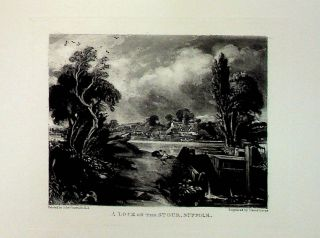 "Plate - ""Lock on the Stour, Suffolk"" from English Landscape Scenery. A Series of Forty Mezzotinto..."