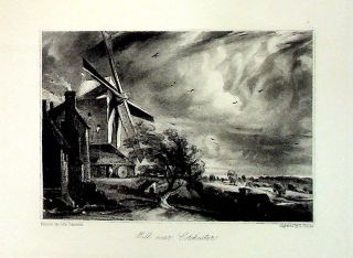 "Plate - ""Mill Near Colchester"" from English Landscape Scenery. A Series of Forty Mezzotinto..."